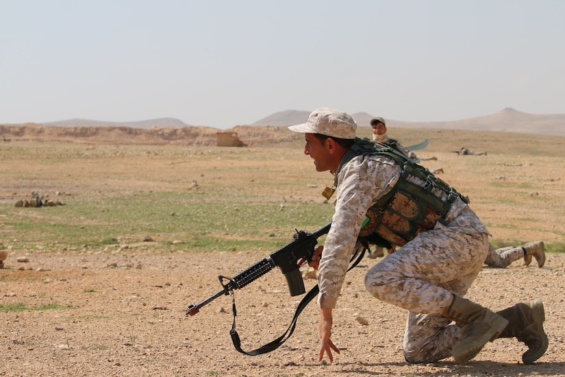 A Jordan Armed Forces Soldier conducts movement and maneuver drills during a recent Jordan Operational Engagement Program (JOEP) training cycle with the U.S. Army. The U.S. Army is in Jordan to partner closely with the Jordan Armed Forces in meeting common security challenges. Jordan is one of the United States' closest allies in the region.