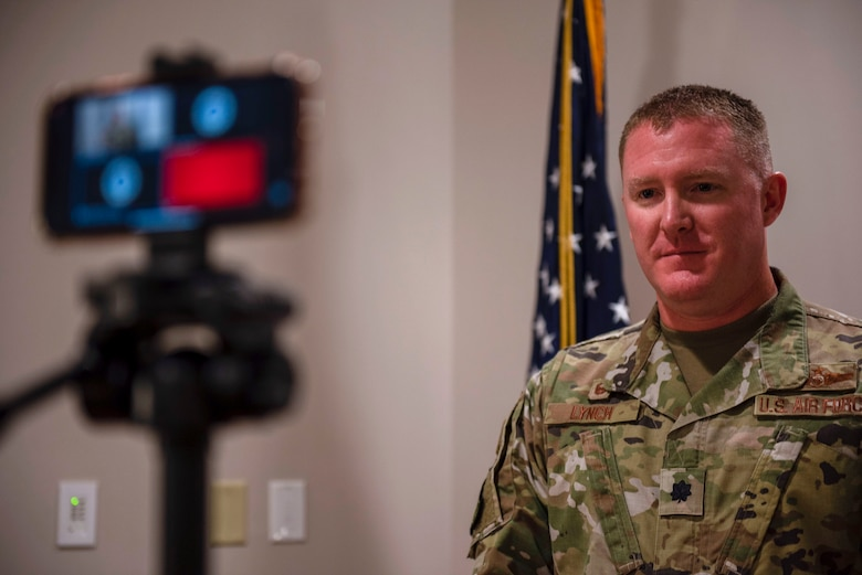 U.S. Air Force Lt. Col. Michael Lynch, 337th Air Control Squadron, commander, during a virtual ceremony held at the 337th ACS Air Battle Manager schoolhouse at Tyndall Air Force Base, Florida, May 26, 2020. The ceremony was held to honor the naming and dedication of Building 1285. (U.S. Air Force photo by Staff Sgt. Magen M. Reeves)