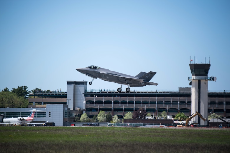 An F-35 assigned to the 158th Fighter Wing takes off from the Vermont Air National Guard Base, honoring Vermont's front line COVID-19 responders and essential workers with a statewide flyover.