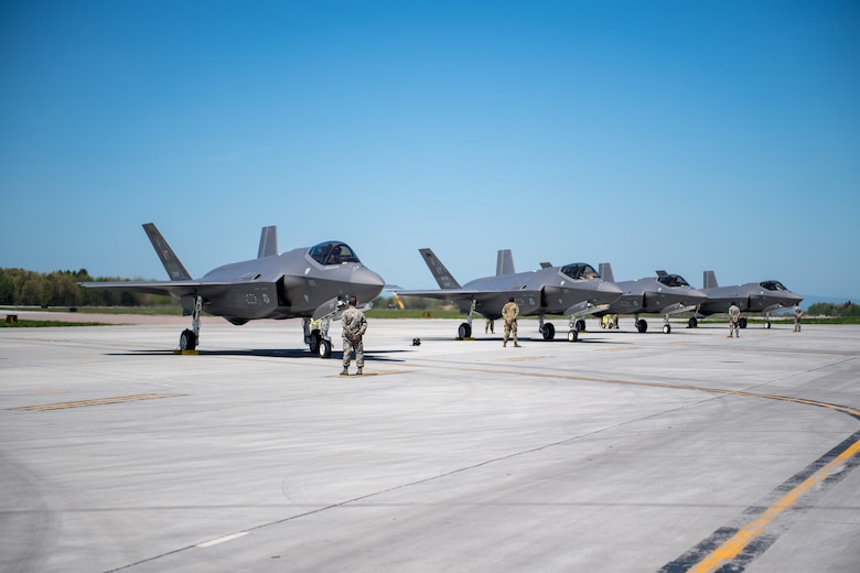 Four F-35s assigned to the 158th Fighter Wing prepare for launch from the Vermont Air National Guard Base, honoring Vermont's front line COVID-19 responders and essential workers with a statewide flyover.