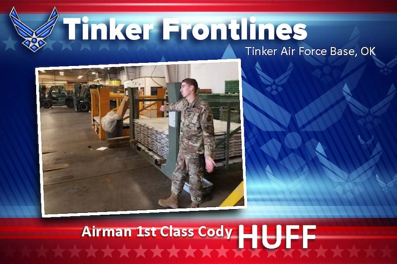 Airman 1st Class Cody Huff, works air transportation in the 72nd Logistics Readiness Squadron. He has been in the Air Force for two years.