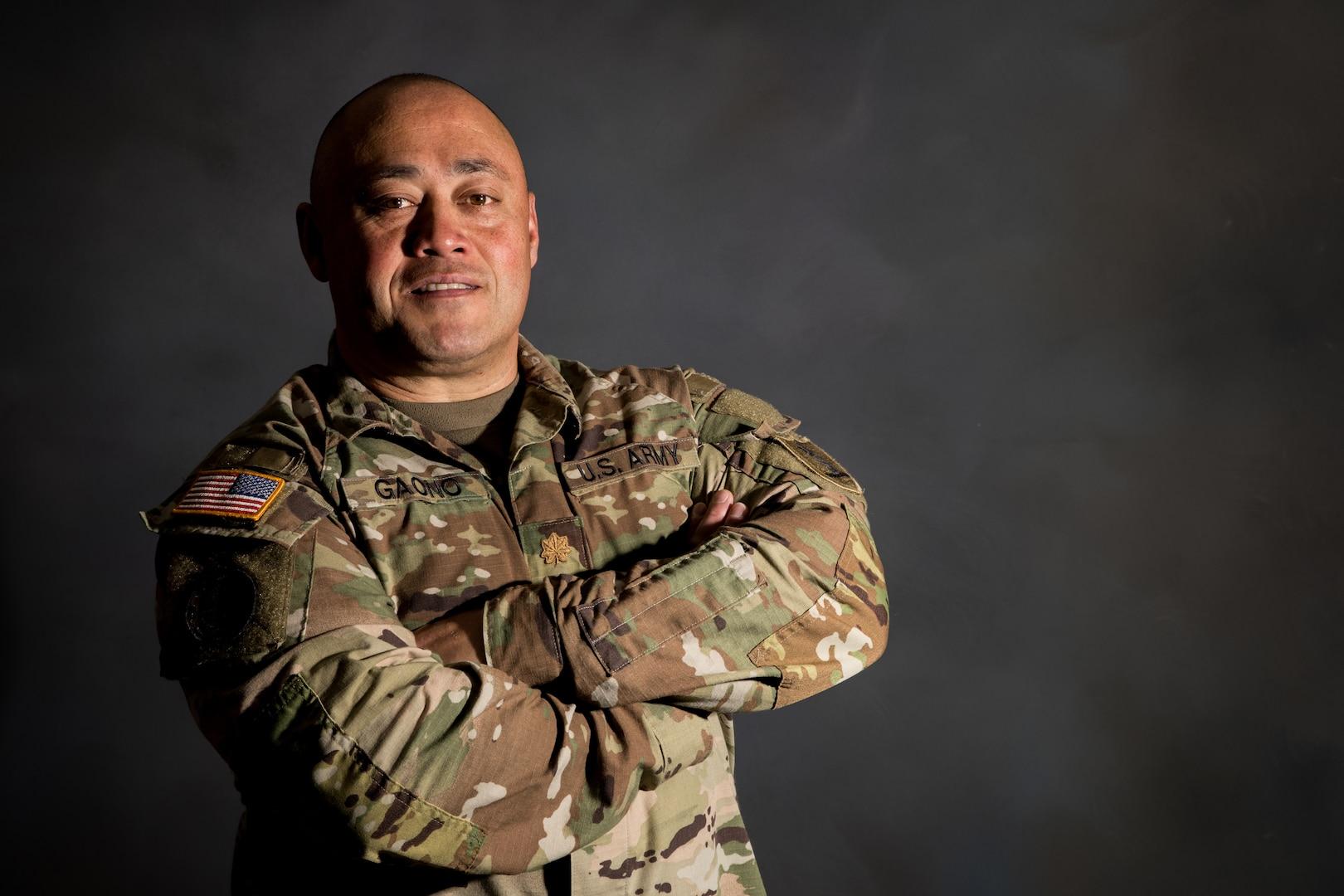Missouri National Guard Maj. McClellan (Mac) Gaono-Taiese, mobilization plans officer, poses for a studio portrait May 13, 2020, at Ike Skelton Training Site, Jefferson City, Missouri.