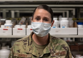 U.S. Air Force Tech Sgt. Amanda Dorsey, 36th Medical Support Squadron NCO in charge of pharmacy supply, poses for a portrait at Andersen Air Force Base, Guam, May 16, 2020.