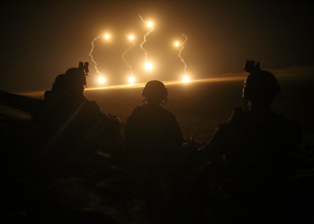 U.S. Marines observe 81 mm mortar illumination during a Fire Support Coordination Exercise, May 14.