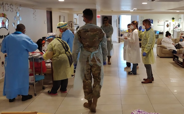 The Puerto Rico National Guard is helping test residents of nursing homes around the island for COVID-19 to help prevent the spread of the coronavirus.