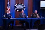 "Defense Secretary Dr. Mark T. Esper, Army Gen. Mark A. Milley, chairman of the Joint Chiefs of Staff, and Senior Enlisted Advisor to the Chairman Ramon ""CZ"" Colon-Lopez answer questions during a virtual global town hall meeting at the Pentagon."