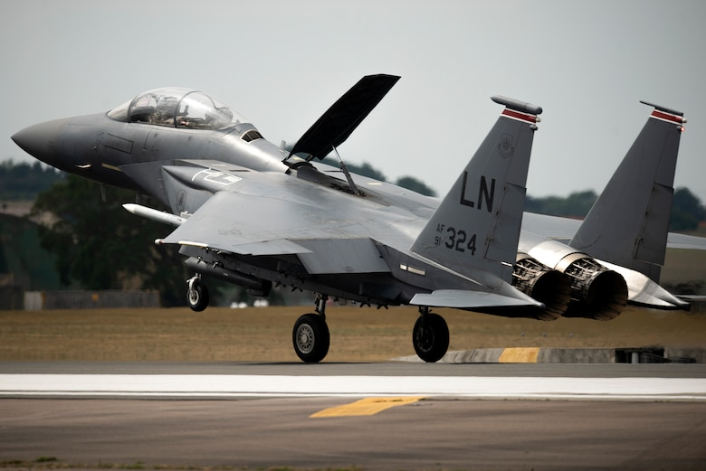 An F-15E Strike Eagle assigned to the 494th Fighter Squadron lands at Royal Air Force Lakenheath, England, May 27, 2020. U.S. Air Force F-15s assigned to the 48th Fighter Wing, F-16s assigned to the 31st Fighter Wing and 52nd Fighter Wing, and KC-135s assigned to the 100th Air Refueling Wing participated in a large force exercise within the U.K. North Sea airspace. (U.S. Air Force photo by Airman 1st Class Jessi Monte)
