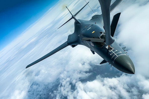 A U.S. Air Force B-1B Lancer assigned to the 9th Expeditionary Bomb Squadron refuels from a KC-135 Stratotanker assigned to the 93rd Air Refueling Squadron in Alaska, May 21, 2020. Bomber Task Force missions increase aircrew familiarity with operations in different geographic combatant command areas of operations as well as allied-nation interoperability. (U.S. Air Force photo by Airman 1st Class Aaron Larue Guerrisky)