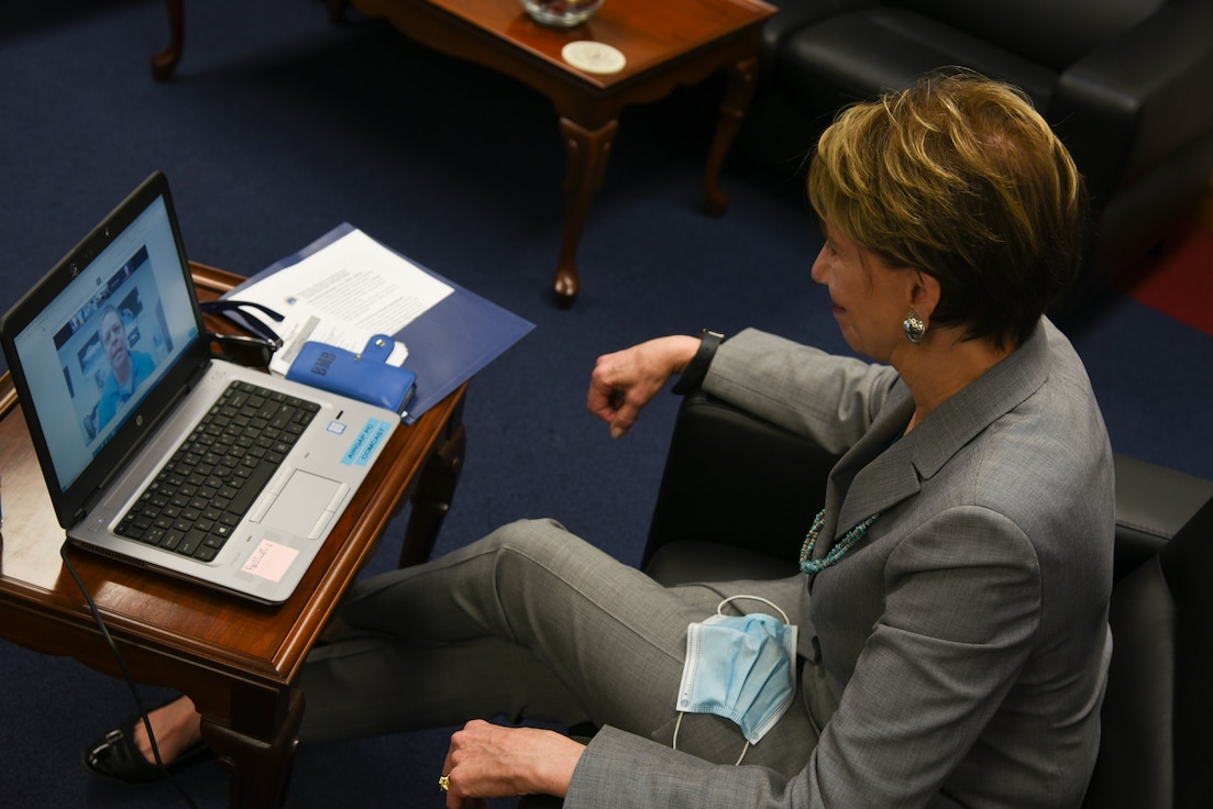 SecAF participates in a conference call.