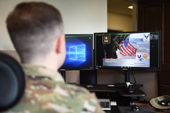 Staff Sgt. Ryan Miller, 62nd Airlift Wing protocol specialist, takes a virtual class during Wingman Day at Joint Base Lewis-McChord, Wash., May 21, 2020.