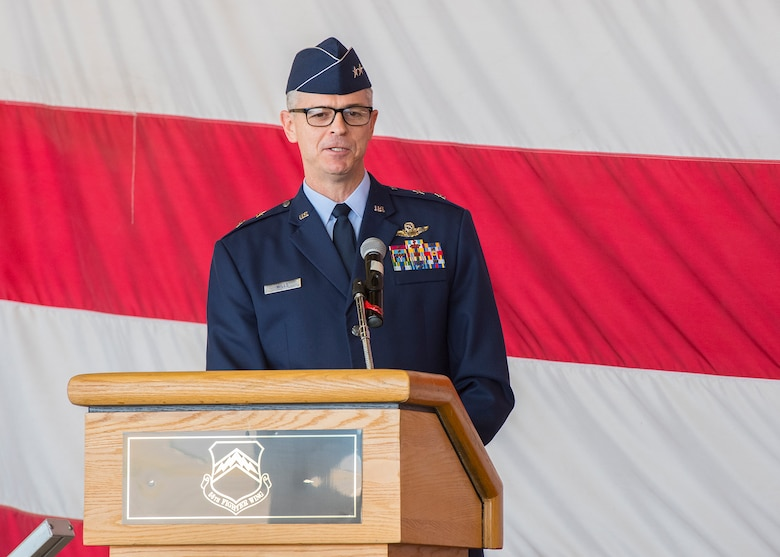 Maj. Gen. Craig Wills, 19th Air Force commander, Joint Base San Antonio-Randolph, Texas, delivers a speech during the 56th Fighter Wing Change of Command ceremony, May 27, 2020, at Luke Air Force Base, Ariz.