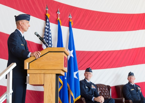 Brig. Gen. Gregory Kreuder, 56th Fighter Wing commander, provides remarks after assuming command from Brig. Gen. Todd Canterbury, 56th Fighter Wing outgoing commander (far right), during the 56th FW Change of Command ceremony, May 27, 2020, at Luke Air Force Base, Ariz.