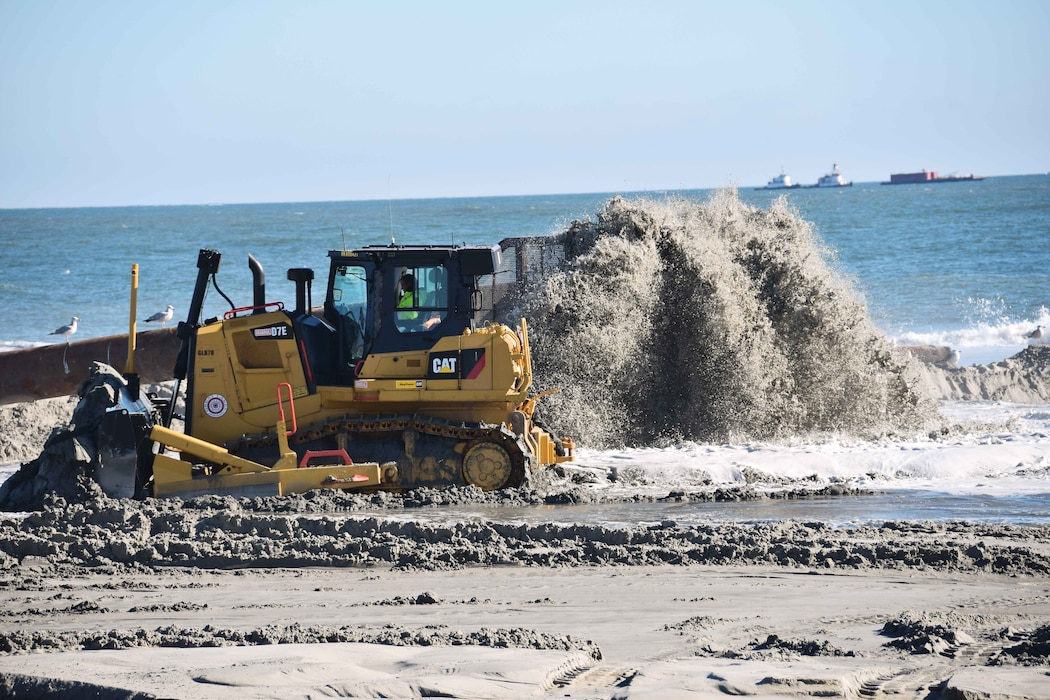 Beachfill operations are ongoing in Ocean City and Sea Isle City, New Jersey. Work is designed to reduce the risk of damages from coastal storms.