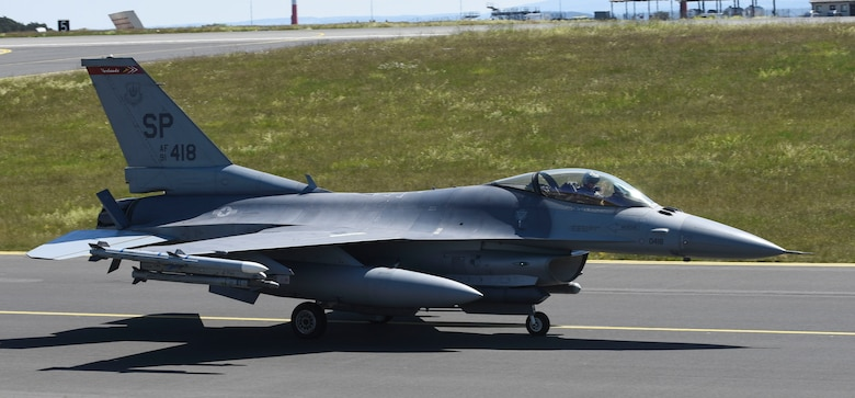 A U.S. Air Force F-16 Fighting Falcon, assigned to the 480th Fighter Squadron, taxis off at Spangdahlem Air Base, Germany, to participate in a large force exercise within the North Sea airspace, U.K., May 27, 2020. The purpose of this LFE was to conduct participating units to conduct training with other U.S Air Forces in Europe units in order to sharpen combat readiness and increase tactical proficiency to maintain a ready force capable of ensuring the collective defense of the NATO alliance. (U.S. Air Force photo by Senior Airman Melody W. Howley)