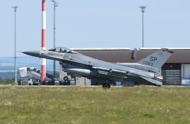 An U.S. Air Force F-16 Fighting Falcon, assigned to the 480th Fighter Squadron, lands at Spangdahlem Air Base, Germany, to participate in a large force exercise within the North Sea airspace, U.K., May 27, 2020. These exercises provide both aircrew and support personnel the experience needed to maintain a ready force, and by integrating multiple aircraft, aircrews are able to train for different objectives, which is critical to ensuring the collective defense of the NATO alliance. (U.S. Air Force photo by Senior Airman Melody W. Howley)