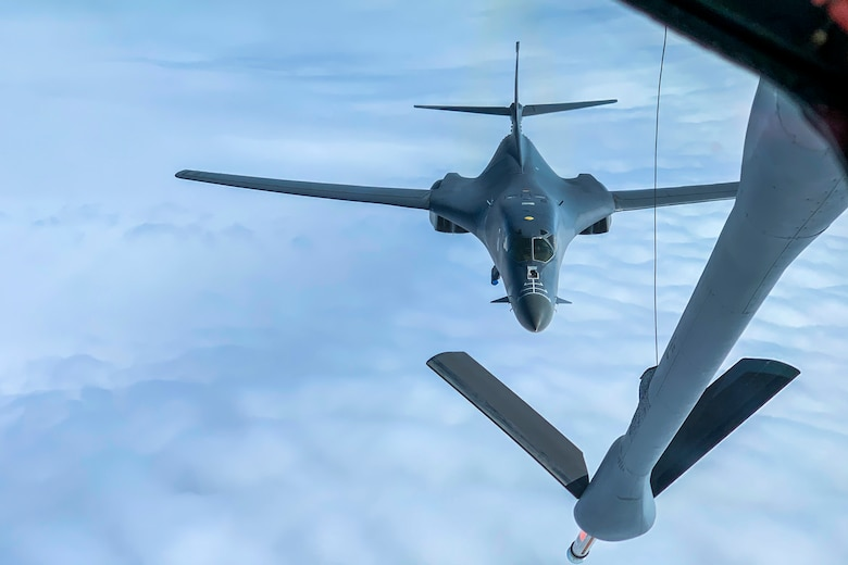A U.S. Air Force B-1B Lancer assigned to the 9th Expeditionary Bomb Squadron closes in on a KC-135 Stratotanker assigned to the 93rd Air Refueling Squadron in Alaska, May 21, 2020. During the Bomber Task Force mission, B-1s from Dyess Air Force Base received fuel from KC-135s assigned to Fairchild Air Force Base.  (U.S. Air Force photo by Airman 1st Class Aaron Larue Guerrisky)