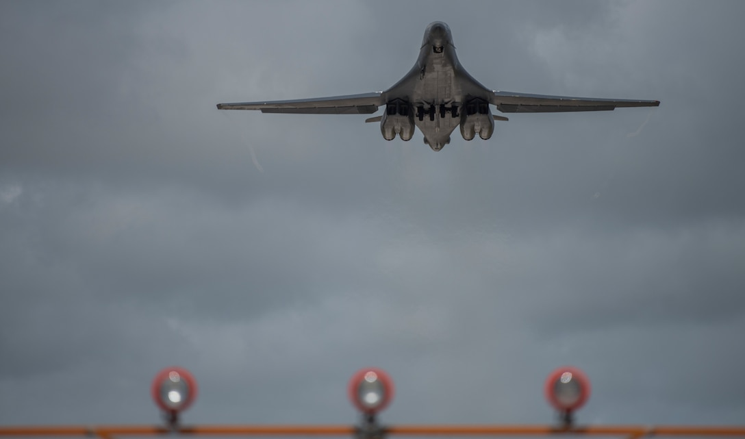 A 9th Expeditionary Bomb Squadron B-1B Lancer takes off from Andersen Air Force Base, Guam, May 27, 2020. In continued demonstration of the U.S. Air Force's dynamic force employment model, two U.S. Air Force B-1Bs flew from Guam and conducted training in the Sea of Japan with the Koku Jieitai, or Japanese Air Self-Defense Force, as part of a Bomber Task Force mission. BTF supports Pacific Air Forces' strategic deterrence mission and its commitment to the security and stability of the Indo-Pacific region. (U.S. Air Force photo by Senior Airman River Bruce)