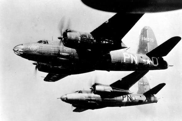Photo of B-26 Marauder flying mission