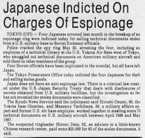 A June 10, 1987, newspaper article covering the espionage ring in Japan targeting U.S. military documents. (Photo courtesy Tyler-Courier Times)