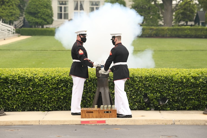 The Body Bearers fired a cannon every minute for 21 minutes in observance of Memorial Day.