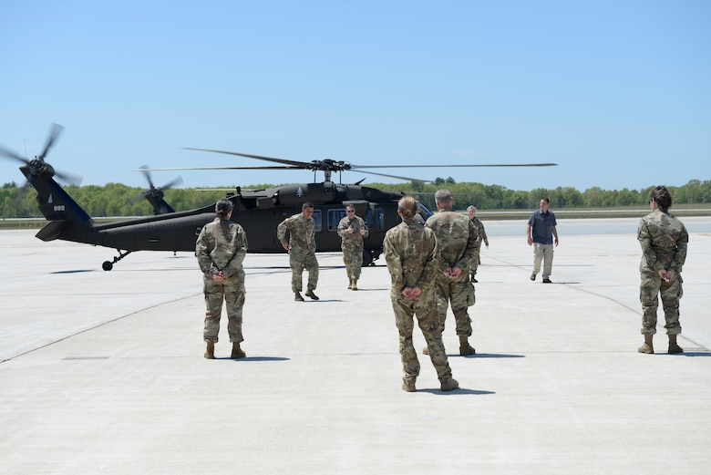 Gen. Joseph L. Lengyel, the Chief of the National Guard Bureau, gives the thumbs up sign as he disembarks an HH60M Black Hawk at Pease Air National Guard Base, Newington, N.H., after a flight to Concord to learn about the NHNG's involvment in the state's response to the COVID-19 pandemic, May 27, 2020. Lengyel arrived at Pease earlier that day and toured a KC-46A Pegasus. (U.S. Air National Guard photo by Senior Master Sgt. Timm Huffman)