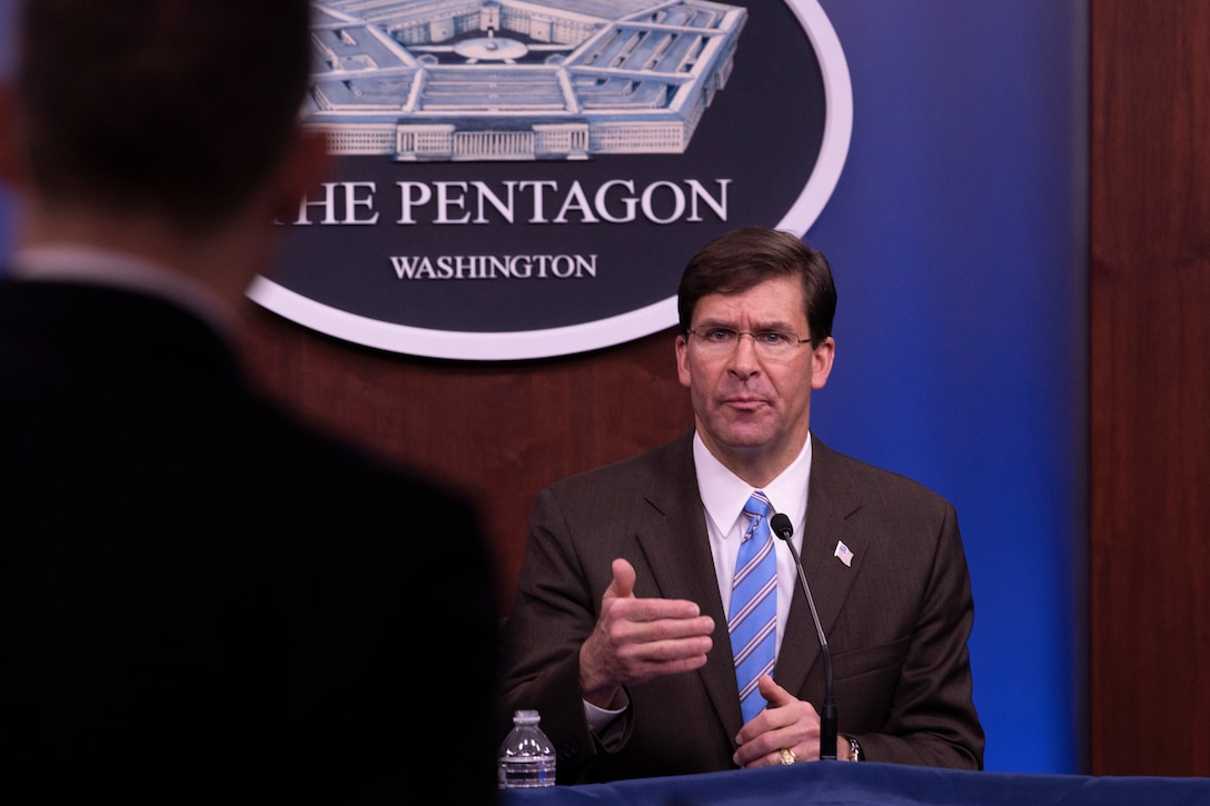Defense Secretary Dr. Mark T. Esper speaks during a town hall at the Pentagon.
