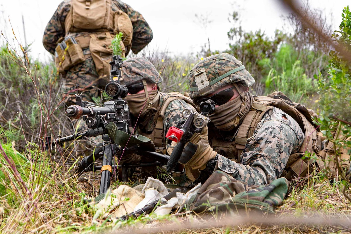 Two Marines lie on the ground pointing weapons.