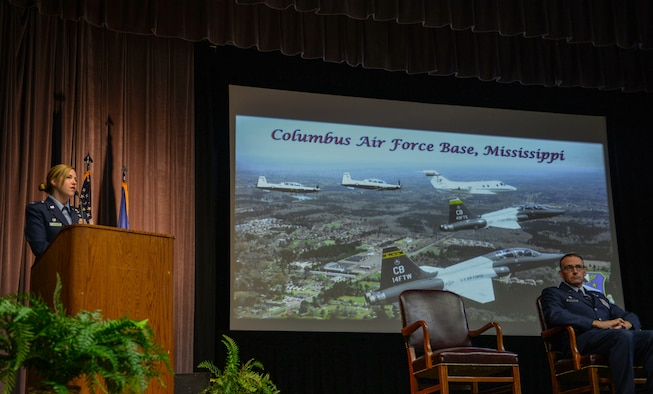 Col. Samantha Weeks, former 14th Flying Training Wing commander, speaks at the graduation ceremony for Specialized Undergraduate Pilot Training Class 20-14/15 on May 15, 2020, at Columbus Air Force Base, Miss. Weeks relinquished command of the 14th FTW on May 21, 2020. (U.S. Air Force photo by Airman 1st Class Davis Donaldson)