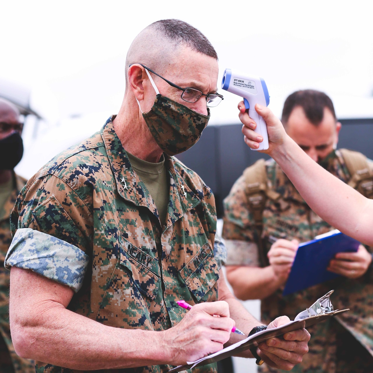 Marine Corps general going through a COVID-19 screening.
