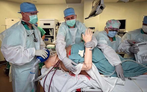 Doctors prepare patient