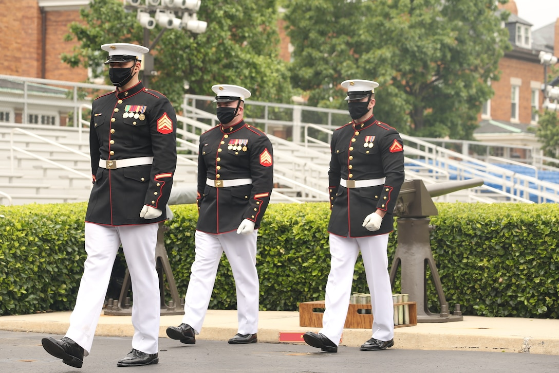 Body Bearers march off the parade deck at Marine Barracks Washington, D.C., May 26.
