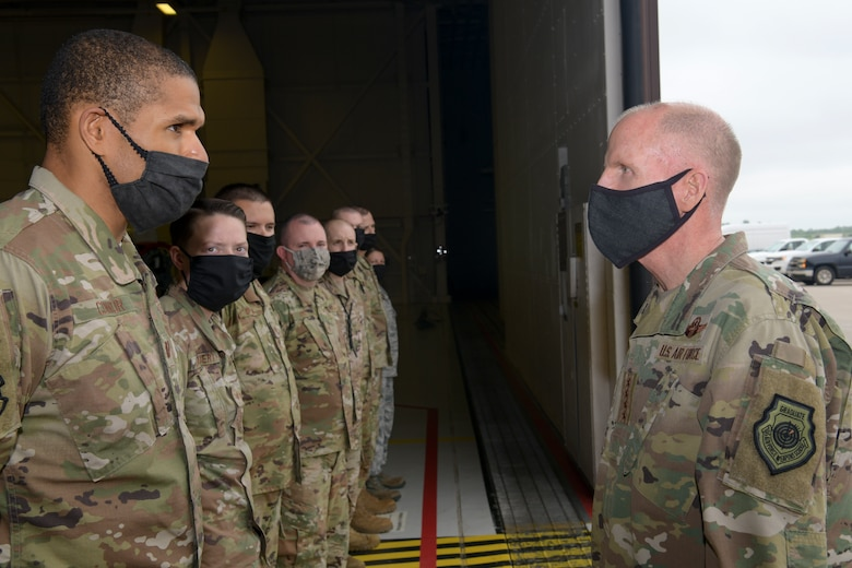 Vice Chief of Staff of the Air Force Gen. Stephen W. Wilson speaks with 509th and 131st Bomb Wing maintenance personnel.