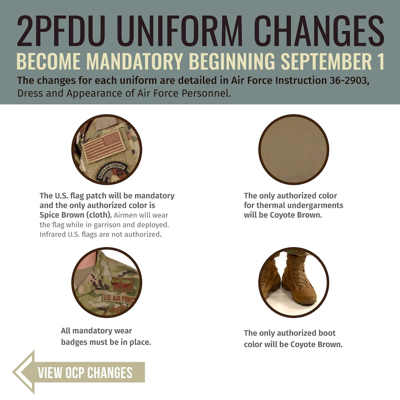 The mandatory wear-date for certain OCP and 2PFDU items was pushed to Sept. 1, 2020.