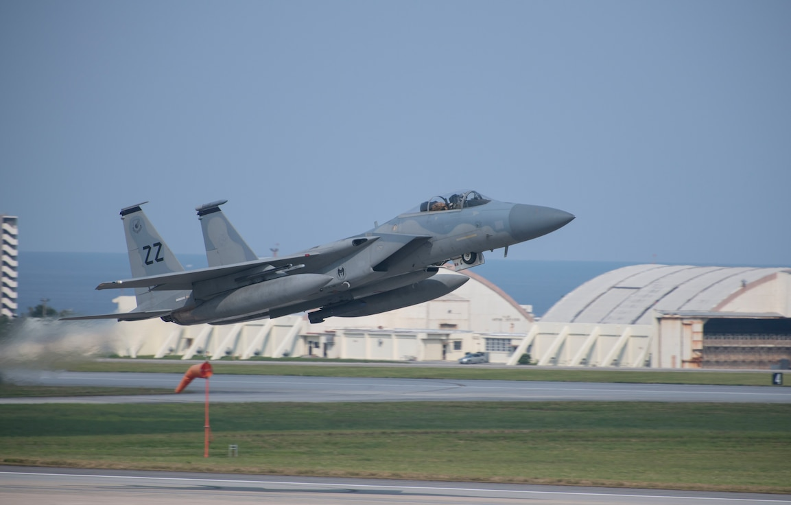 An F-15C Eagle takes off for Prince Sultan Air Base, Kingdom of Saudi Arabia, from Kadena Air Base, Japan, April 28, 2020. Airmen assigned to the 18th Aircraft Maintenance Squadron, 18th Component Maintenance Squadron, 18th Equipment Maintenance Squadron, 18th Munitions Squadron, 18th Maintenance Operations Flight, and 18th Operations Support Squadron along with the 44th Fighter Squadron deployed in support of ongoing operations to maintain air superiority, defend forces on the ground, enhance regional partnerships, and demonstrate a continued commitment to regional security and stability in the U.S. Central Command theater. While supporting U.S. Central Command, the 18th Wing at Kadena stands ready to support a safe and secure Indo-Pacific.