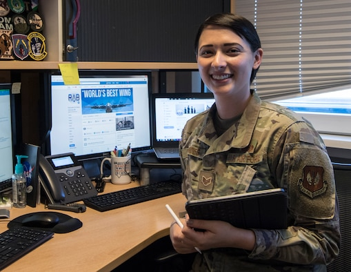 U.S. Air Force Staff. Sgt. Kirsten Brandes, 86th Airlift Wing noncommissioned officer in charge of media, shows off her workstation, Ramstein Air Base, Germany, May 28, 2020.