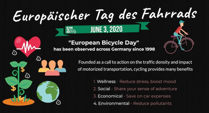 """The German observance """"Europäischer Tag des Fahrrads,"""" translates to European day of the bicycles, is recognized on the third of June every year to raise awareness of the social, economical, environmental and health benefits cycling promotes. It was founded as a call to action on the negative implication of motorized vehicles and traffic density. (U.S. Air Force photo by Staff Sgt. Nesha Humes Stanton)"""