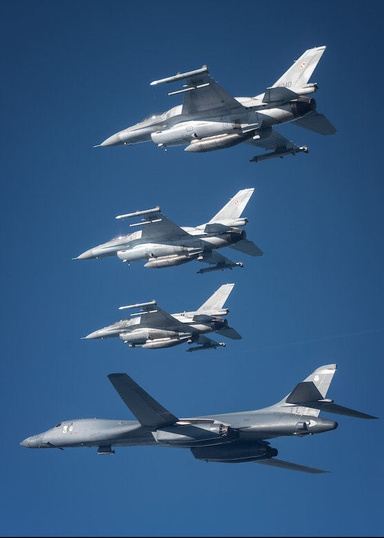 Military aircraft flying