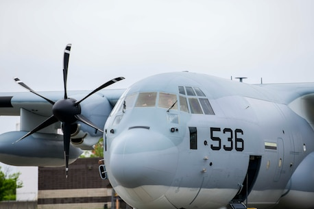 Lockheed Martin delivers the first KC-130J Super Hercules tanker assigned to Marine Aerial Refueler Transport Squadron 452 (VMGR-452), the Marine Forces Reserve squadron, May 28, 2020, at Stewart Air National Guared Base, Newburgh, New York (U.S. Air Force Photo by Senior Airman Jonathan Lane/Released). A U.S. Marine Corps crew ferried the aircraft from Lockheed Martin's facility in Marietta, GA to NY.