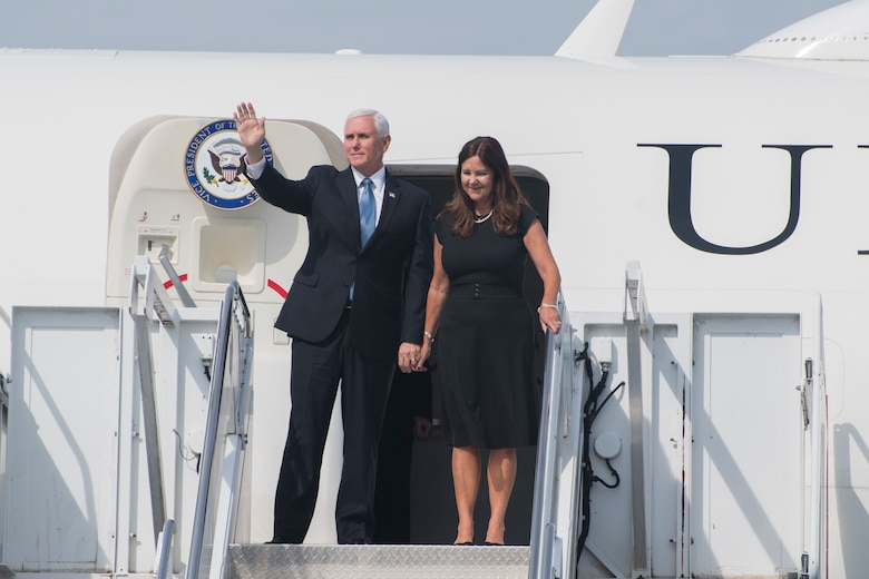Vice President Michael Pence and his wife, Karen, wave to onlookers as they disembark Air Force Two at Dobbins Air Reserve Base, Ga. on May 29, 2020. Air Force Two landed here around 10 a.m., marking the second time in two weeks the vice president has visited Georgia. (U.S. Air Force photo/Andrew Park)