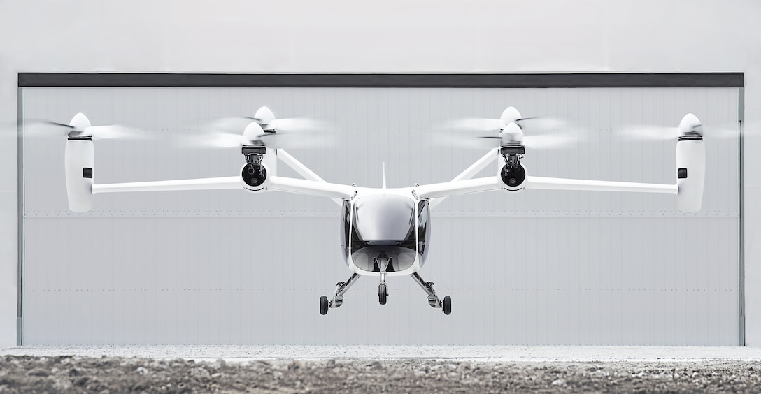 The Joby S4 is a five-place aircraft that takes off and lands vertically and transitions to winged flight.