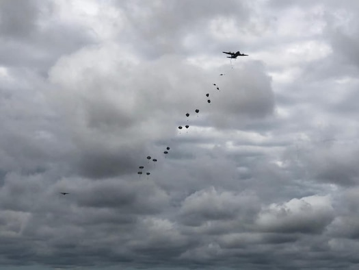 U.S. Army paratroopers descend from the sky after jumping out of C-130J Super Hercules aircraft from Little Rock Air Force Base, Arkansas, in support of airborne operations at the Joint Readiness Training Center in Fort Polk, Louisiana, May 26, 2020. The training allowed more than 140 U.S. Army Soldiers to recertify their status, both as paratroopers and jumpmasters. (Courtesy photo)