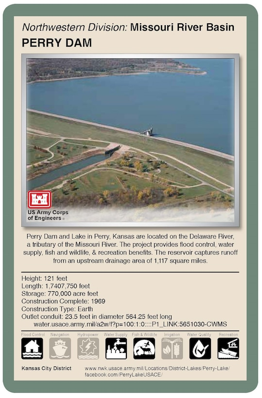 Living with dams is a shared responsibility and requires constant assessment, continuous communication and engagement with local public and emergency management agencies. The Kansas City District, U.S. Army Corps of Engineers, operates and manages 18 dams in Missouri, Kansas, Nebraska and Iowa. Flood control serves as the primary purpose of these dams. Corps reservoirs provide many other benefits including recreation activities.