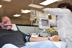 Donald Perry, a Fort Bragg civilian employee who recently recovered from COVID-19, donates his plasma at the Fort Bragg Blood Donor Center at Fort Bragg, N.C., May 7, 2020.