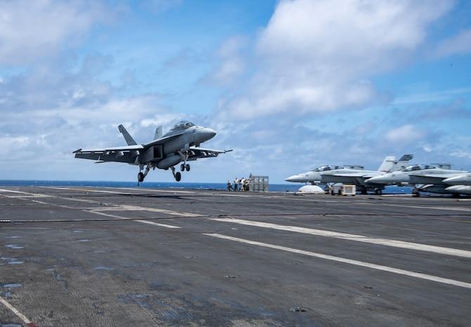 Fighter jet lands on USS Harry S. Truman