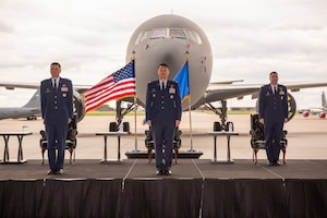 Lt. Col. Wesley Spurlock, 344th Air Refueling Squadron outgoing commander, center, is recognized during a change of command ceremony May 27, 2020, at McConnell Air Force Base, Kansas. Spurlock served as the commander of the 344th during the arrival of the KC-46A Pegasus. (U.S. Air Force photo by Staff Sgt. Chris Thornbury)