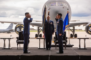 Lt. Col. Wesley Spurlock, right, relinquishes command of the 344th Air Refueling Squadron during a change of command ceremony May 27, 2020, at McConnell Air Force Base, Kansas. Spurlock led the 344th during its reorganization, introducing aircrew from many different airframes to the KC-46A Pegasus, the newest airframe to the Air Force's air refueling inventory. (U.S. Air Force photo by Staff Sgt. Chris Thornbury)