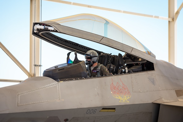 Maj. Benjamin Gilliland, 411th Flight Test Squadron, F-22 Raptor Combined Test Force, prepares an F-22 Raptor for takeoff at Edwards Air Force Base, California, April 30. Gilliland, along with Lt. Col. Tyler Robarge, 411th Flight Test Squadron, F-22 Raptor Combined Test Force, conducted an operational rapid crew swap with Robarge flying the first sortie and then swapped seats with Gilliland. (Photo courtesy of Kyle Larson/Lockheed-Martin)
