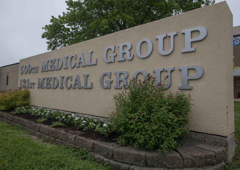 A sign displays the names of the 509th and 131st Medical Groups at Whiteman Air Force Base, Missouri, May 13, 2020. The 509th MDG implemented procedures and precautions to help mitigate the spread of COVID-19 on base and within the local community. (U.S. Air Force Photo by Senior Airman Thomas Johns)