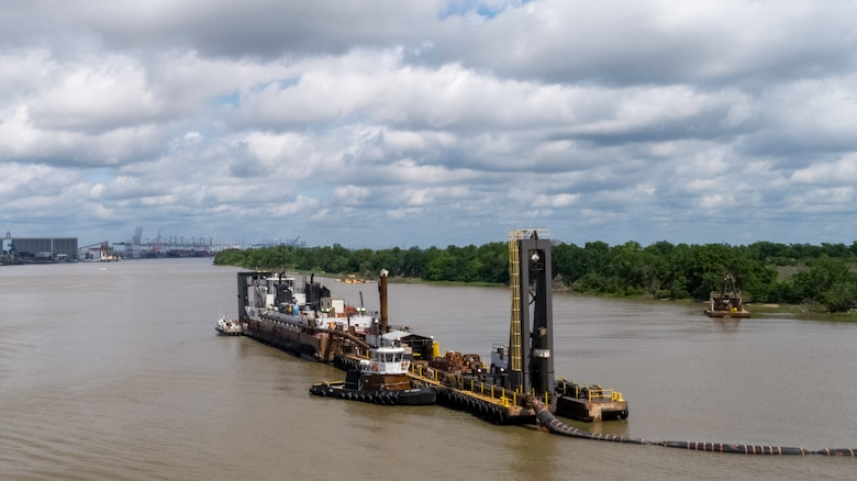 The Dredge Charleston of Norfolk Dredging is shown deepening the inner harbor of the Savannah River May 28, 2020, as part of the Savannah Harbor Expansion Project. The project is on schedule for completion in January 2022. Garden City Terminal is shown in the background.