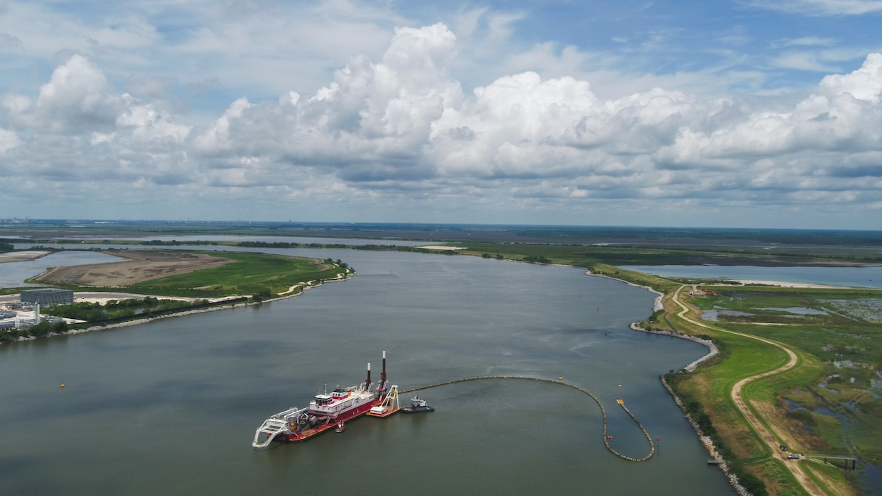 The Dredge Chatry of Weeks Marine is shown deepening the inner harbor of the Savannah River May 28, 2020, as part of the Savannah Harbor Expansion Project. The project is on schedule for completion in January 2022.